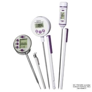Calibrated electronic thermometers with stainless steel stem